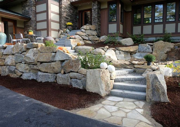 Luxury home granite entry in New Hampshire