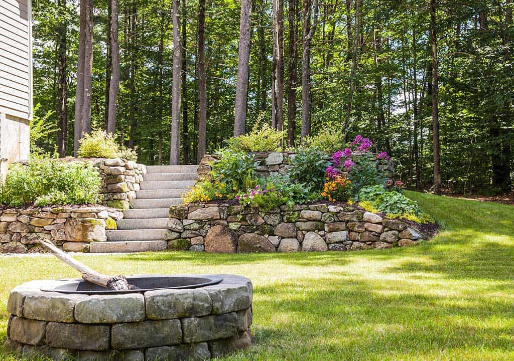 Fire pit and retaining wall installation in New Hampshire