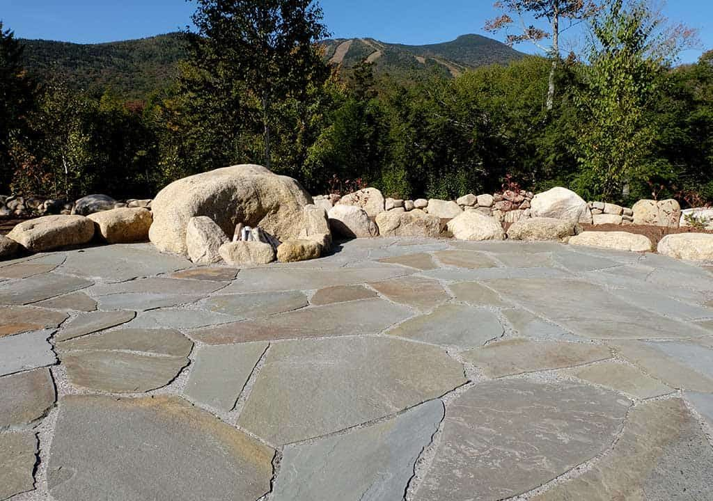Flagstone patio and fire pit in White Mountains of New Hampshire