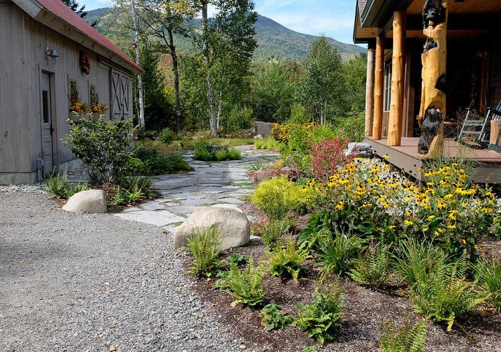 Flagstone walkway and garden installation in New Hampshire
