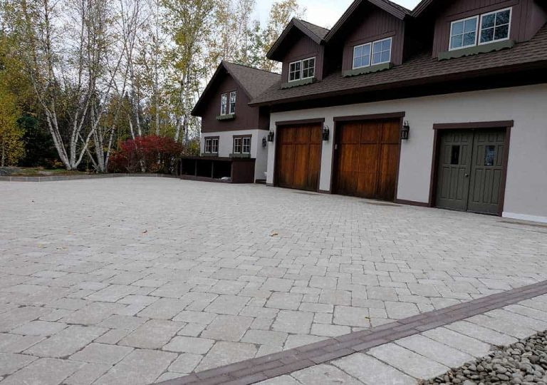 Paver driveway installation in New Hampshire