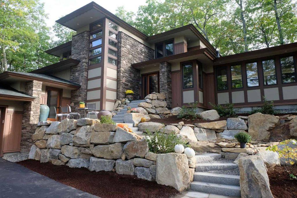 Luxury home granite walkway in New Hampshire